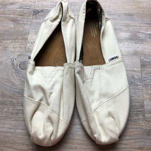Toms men's natural tan canvas slip on shoes